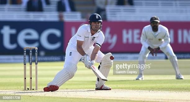 England captain Alastair Cook plays a ramp shot during day four of the 3rd Investec Test match between England and Sri Lanka at Lord's Cricket Ground...