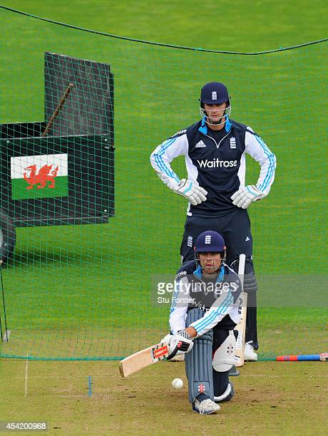 England captain Alastair Cook prepares to reverse sweep watched by Alex Hales during England practice ahead of Wednesday's 2nd One Day International...