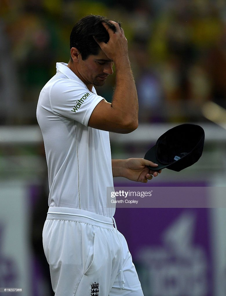 England captain Alastair Cook reacts after losing the second Test match between Bangladesh and England at Sher-e-Bangla National Cricket Stadium on October 30, 2016 in Dhaka, Bangladesh.