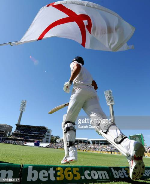 England captain Alastair Cook runs out to bat during day two of the Third Ashes Test Match between Australia and England at WACA on December 14 2013...