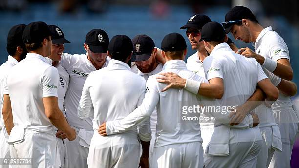 England captain Alastair Cook speaks to his team before taking to the field during the second day of the 2nd Test match between Bangladesh and...