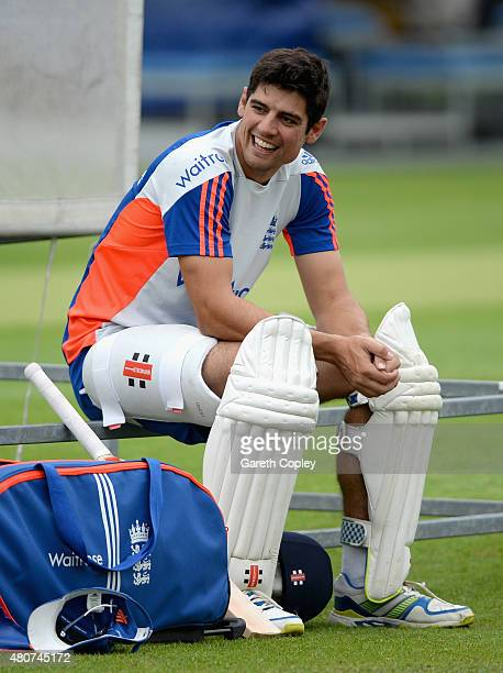 England captain Alastair Cook takes a break after batting during a nets session ahead of the 2nd Investec Ashes Test match between England and...