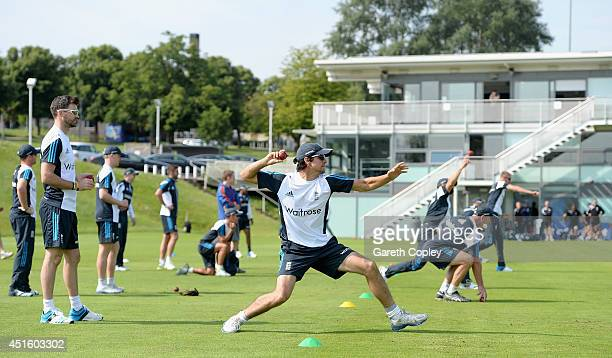 England captain Alastair Cook takes part in a fielding drill during a training session at the ECB National Cricket Performance Centre on July 2, 2014...