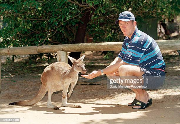 England captain Alec Stewart feeding a Kangaroo at Perth Zoo during the Ashes tour 30th October 1998