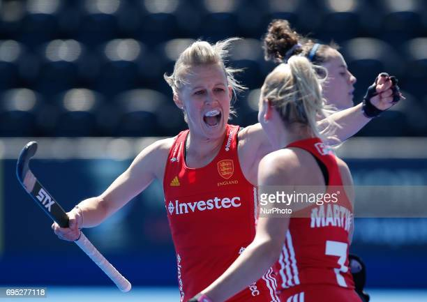 England captain Alex Danson celebrates with goal scorer Hannah Martin during the Investec International match between England Women and Argentina...