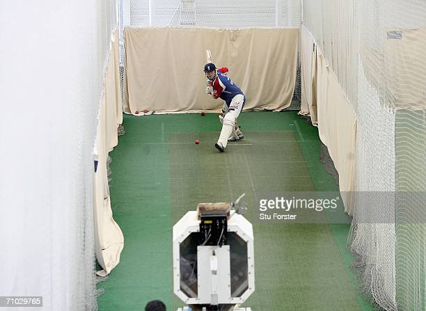 England captain Andrew Flintoff trains using the 'Merlyn' bowling machine during England Nets at the Indoor School at Edgbaston on May 24 2006 in...