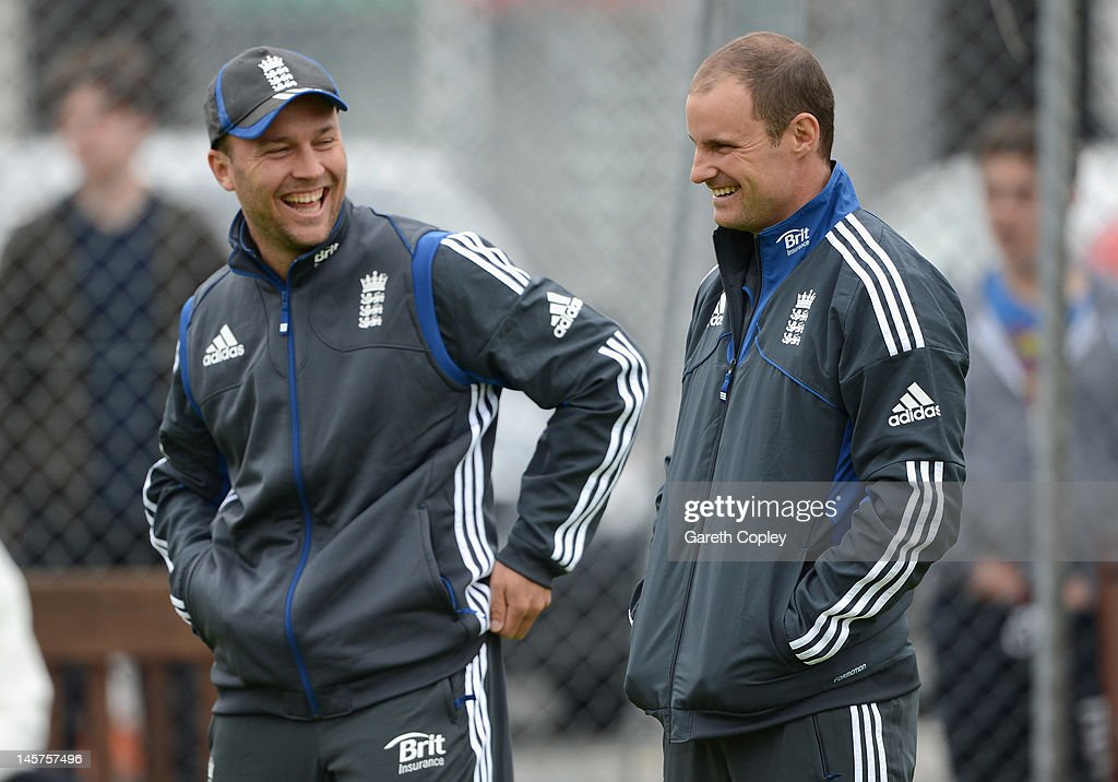 England captain Andrew Strauss and Jonathan Trott share a joke during a nets session at Edgbaston on June 5, 2012 in Birmingham, England.