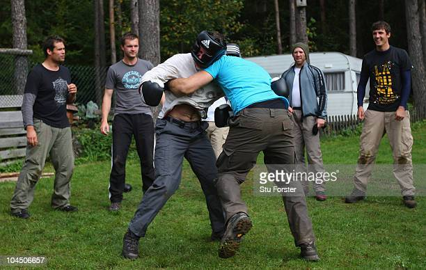 England captain Andrew Strauss and Tim Bresnan do battle in the final of a boxing excercise during the England Cricket squad Pre Ashes Training Camp...