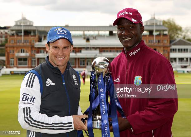 England captain Andrew Strauss and West Indies captain Darren Sammy with the Investec trophy at Lord's Cricket Ground on May 16 2012 in London England