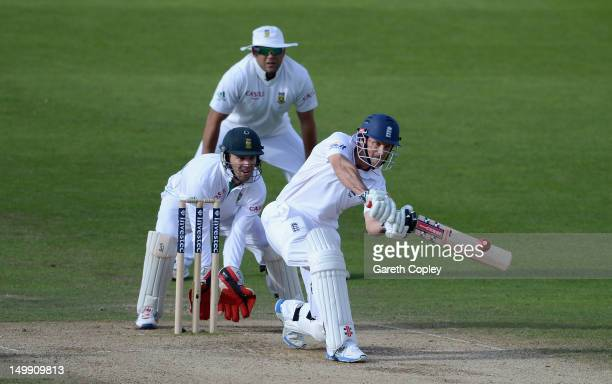 England captain Andrew Strauss bats during day five of the 2nd Investec Test match between England and South Africa at Headingley on August 6 2012 in...
