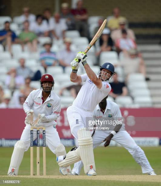 England captain Andrew Strauss bats during day four of the second Test match between England and the West Indies at Trent Bridge on May 28 2012 in...