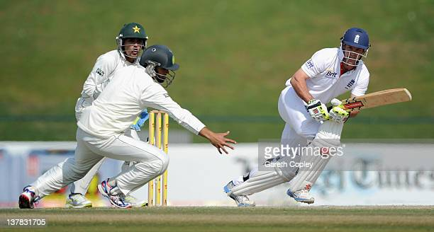 England captain Andrew Strauss bats during the second Test match between Pakistan and England at Sheikh Zayed Stadium on January 28 2012 in Abu Dhabi...