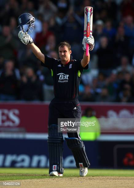 England captain Andrew Strauss celebrates after reaching his century during the 2nd NatWest ODI match between England and Pakistan at Headingley...