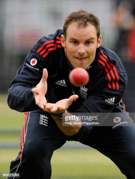 England captain Andrew Strauss during a training session before the 1st Test match between England and West Indies at Lord's Cricket Ground London...