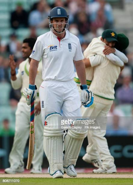 England captain Andrew Strauss is dismissed by Pakistan's Mohammed Amir during the third npower Test at The Brit Insurance Oval London