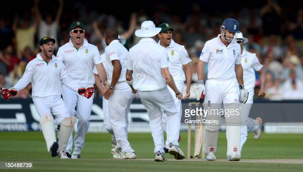 England captain Andrew Strauss leaves the field after being trapped LBW by Vernon Philander of South Africa during day four of 3rd Investec Test...