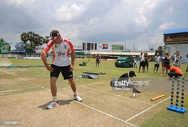 England captain Andrew Strauss looks at the wicket during the England nets session at the P Sara Stadium on April 2 2012 in Colombo Sri Lanka