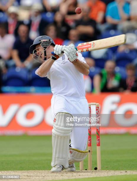 England captain Andrew Strauss plays that shot that leads to his dismissal in the 1st Test match between England and Australia at Cardiff Wales 8th...