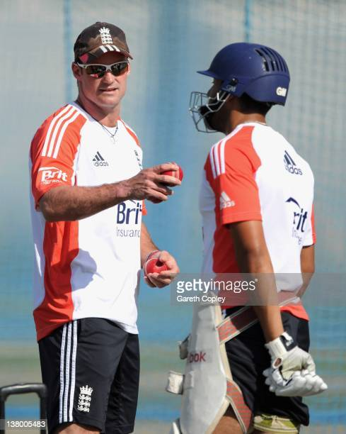 England captain Andrew Strauss speaks with Ravi Bopara during a nets session at the ICC Global Academy on January 31 2012 in Dubai United Arab...