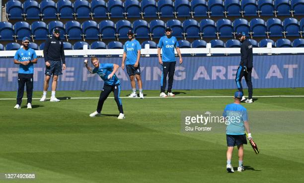 England captain Ben Stokes fielding with his new team mates during nets ahead of the 1st ODI between England and Pakistan at Sophia Gardens on July...