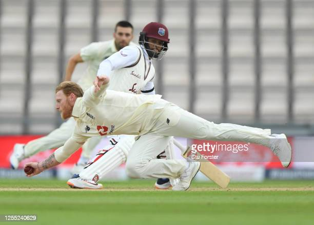 England captain Ben Stokes fields off his own bowling during day two of the 1st #RaiseTheBat Test match at The Ageas Bowl on July 09 2020 in...