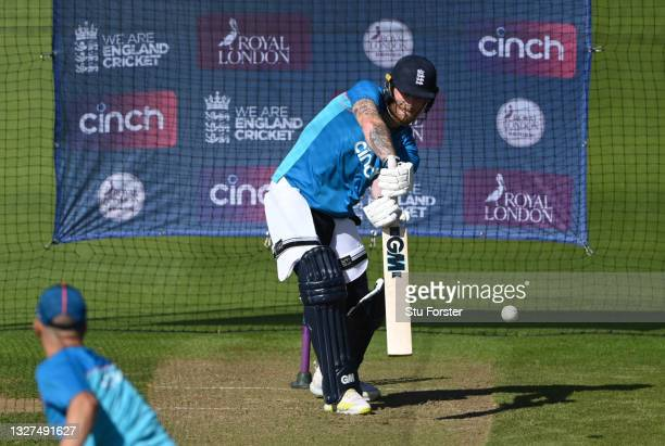England captain Ben Stokes in batting action during nets ahead of the 1st ODI between England and Pakistan at Sophia Gardens on July 07, 2021 in...