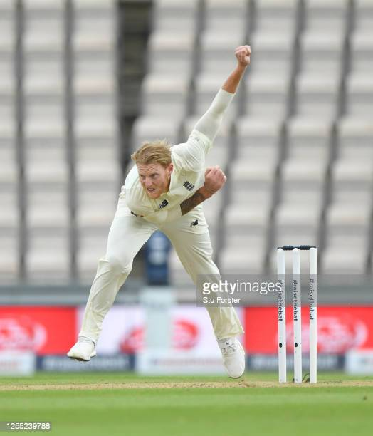 England captain Ben Stokes in bowling action during day two of the 1st #RaiseTheBat Test match at The Ageas Bowl on July 09 2020 in Southampton...