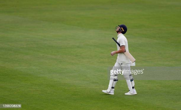 England captain Ben Stokes reacts after being dismissed by West Indies captain Jason Holder during day two of the 1st #RaiseTheBat Test match at The...