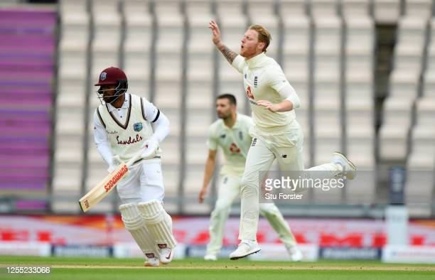 England captain Ben Stokes reacts after bowling during day two of the 1st #RaiseTheBat Test match at The Ageas Bowl on July 09 2020 in Southampton...