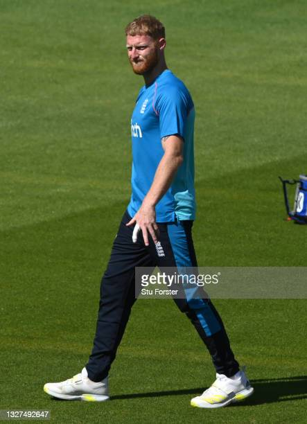 England captain Ben Stokes reacts with his bandaged finger during nets ahead of the 1st ODI between England and Pakistan at Sophia Gardens on July...