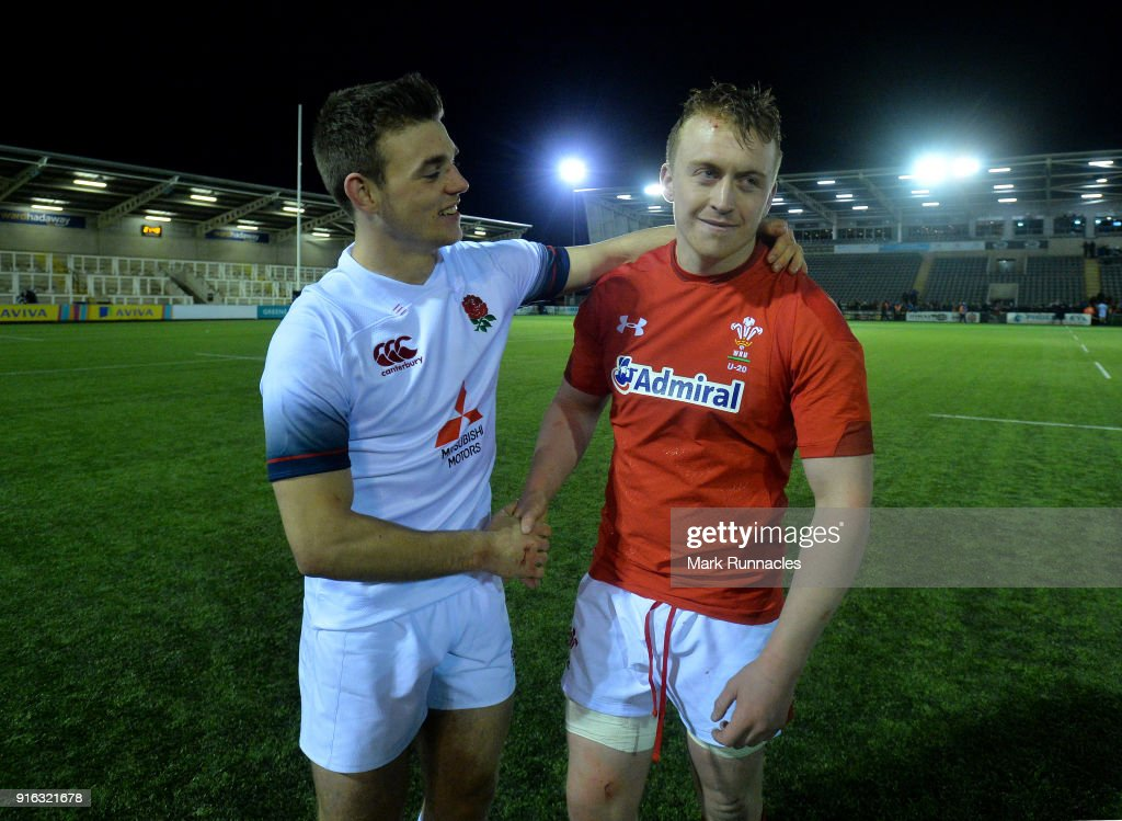 England captain Ben White (L), with Wales captain Tommy Reffell, both of Leicester Tigers during the RBS Under 20's Six Nations match between England U20 and Wales U20 at Kingston Park on February 9, 2018 in Newcastle upon Tyne, England.