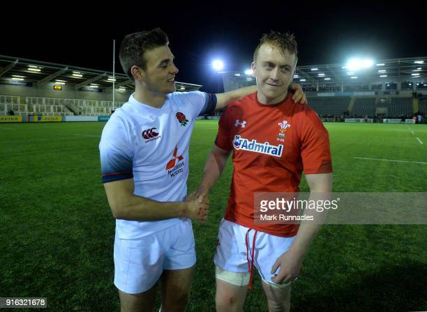 England captain Ben White with Wales captain Tommy Reffell both of Leicester Tigers during the RBS Under 20's Six Nations match between England U20...