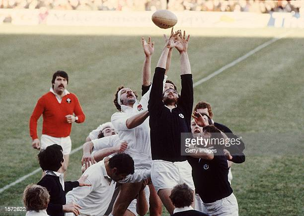 England Captain Bill Beaumont jumps high in the Lineout during the Five Nations Cup match against Scotland played at Twickenham in London Photo taken...