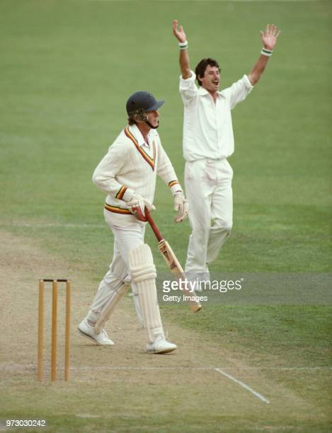 England captain Bob Willis is dismissed by New Zealand bowler Richard Hadlee during the 2nd innings of the 2nd Test Match in Christchurch on February...