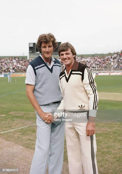 England captain Bob Willis pictured with New Zealand captain Geoff Howarth before the 1st One Day International match at Lancaster Park on February...