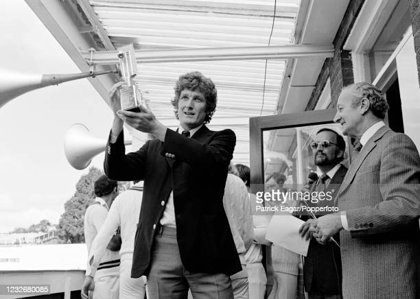 England captain Bob Willis shows off the Cornhill Trophy after England win the 3rd Test match between England and Pakistan by 3 wickets to take the...