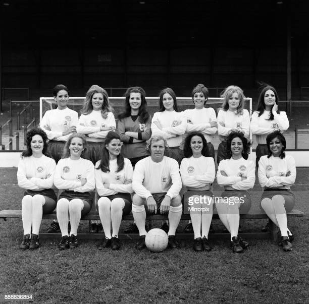 England captain Bobby Moore is pictured his own World Cup team in full England strip They are Bobby's final choice for the Miss World 1971 contest...