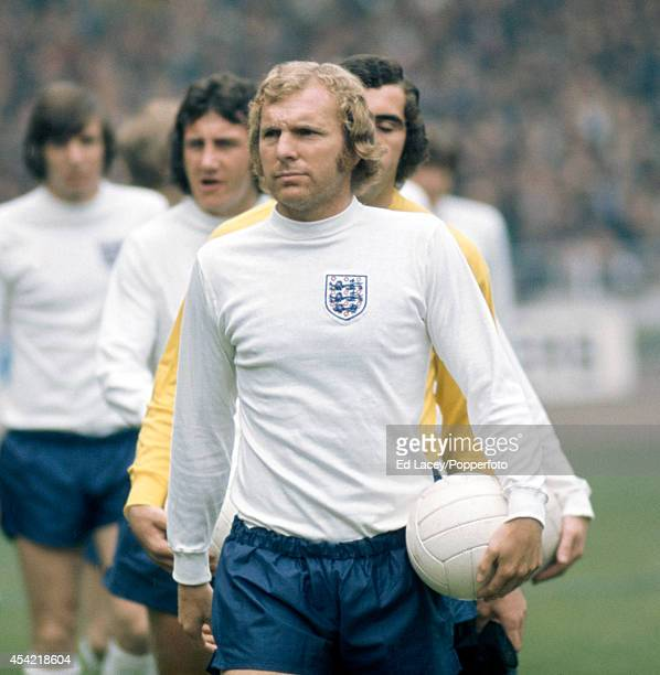 England captain Bobby Moore leads out his team prior to the international football match against Scotland at Wembley Stadium in London on 19th May...