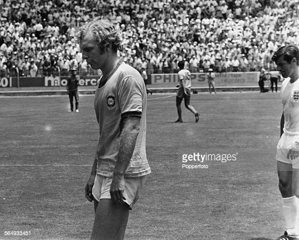 England captain Bobby Moore leaves the pitch after his team's 10 defeat by Brazil in a World Cup Group 3 match at Estadio Jalisco Guadalajara Mexico...
