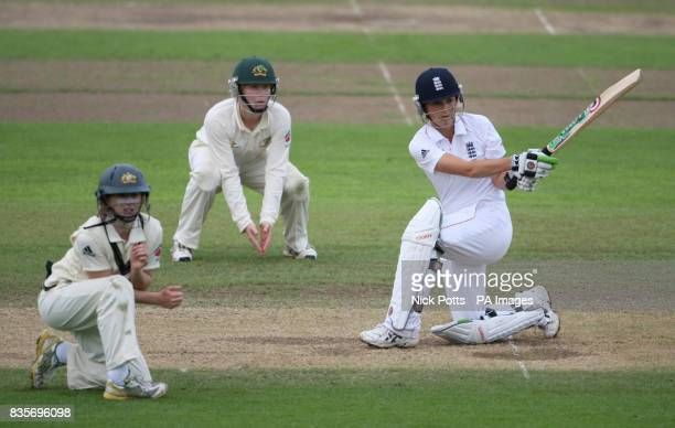 England captain Charlote Edwards sweeps during day Five of the women's npower Test match at New Road, Worcester.