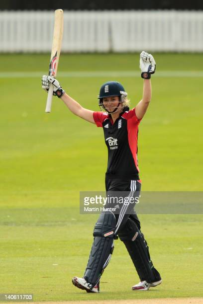 England captain Charlotte Edwards celebrates after reaching a century during the second ODI match between New Zealand and England at Bert Sutcliffe...