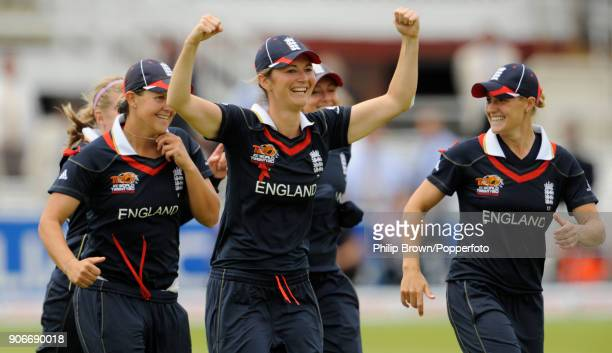 England captain Charlotte Edwards celebrates with teammates after England Women beat New Zealand Women by 6 wickets in the ICC Women's World Twenty20...