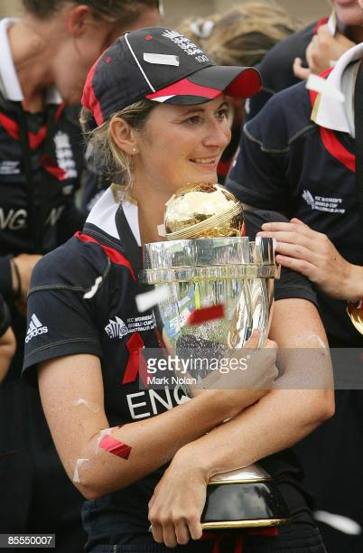 England captain Charlotte Edwards cradles the world cup after the ICC Women's World Cup 2009 final match between England and New Zealand at North...