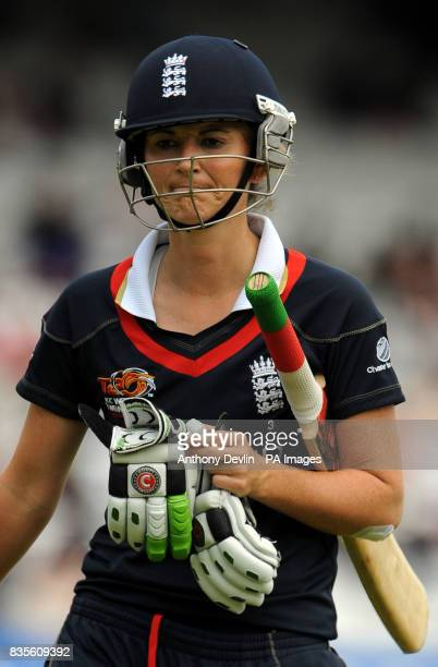 England captain Charlotte Edwards leaves the field after being bowled out by Sian Ruck during the Final of the Womens ICC World Twenty20 at Lords...