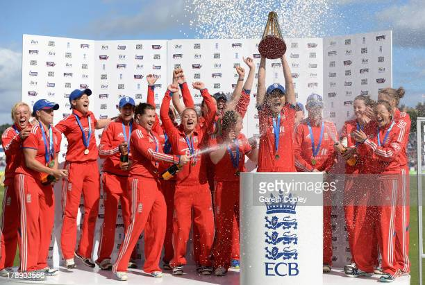 England captain Charlotte Edwards lifts the ashes trophy after the 3rd NatWest T20 match between England and Australia at Emirates Durham ICG on...