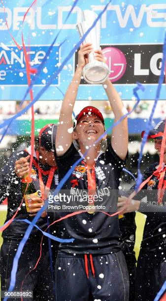 England captain Charlotte Edwards lifts the trophy after England win the ICC Women's World Twenty20 Final between England Women and New Zealand Women...