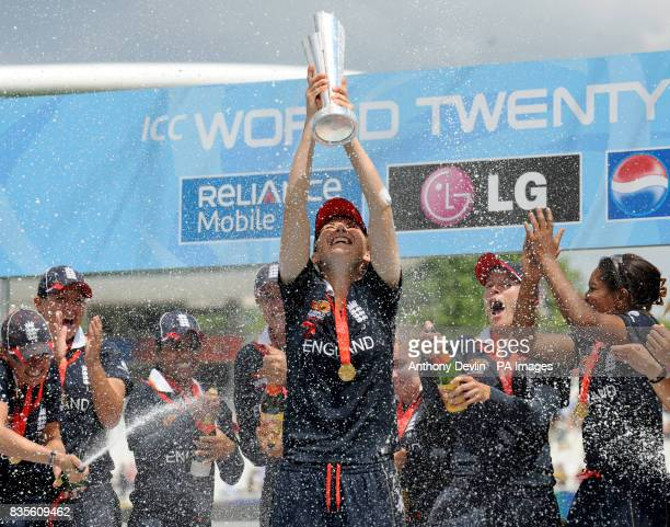 England captain Charlotte Edwards lifts the World Cup Trophy after beating New Zealand during the Final of the Womens ICC World Twenty20 at Lords...