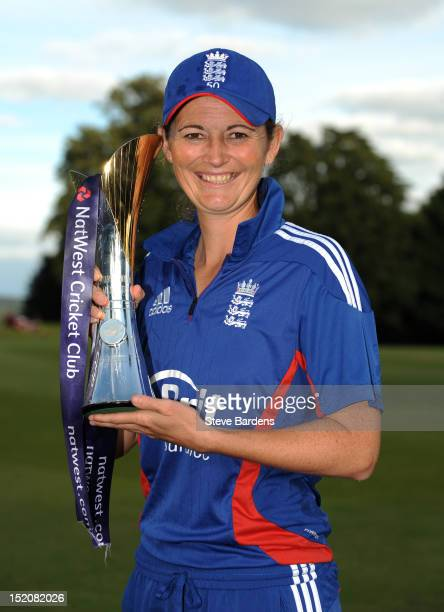 England Captain Charlotte Edwards poses with the NatWest International T20 Trophy after the NatWest Women's International T20 Series match between...