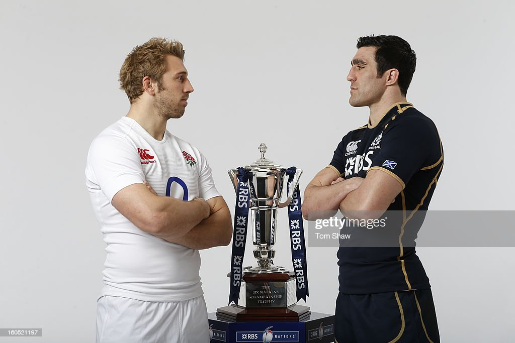 England Captain Chris Robshaw (L) and Scotland Captain Kelly Brown pose with the Six Nations trophy during the RBS Six Nations launch at The Hurlingham Club on January 23, 2013 in London, England.