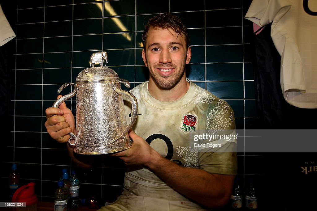 England Captain Chris Robshaw poses with the Calcuta Cup following his team's 13-6 victory during the RBS Six Nations match between Scotland and England at Murrayfield Stadium on February 4, 2012 in Edinburgh, Scotland.